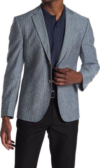 Темно-синее спортивное пальто из смесового льна с двумя пуговицами и лацканами в полоску Original Penguin