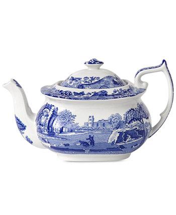 Посуда, синий итальянский чайник, 64 унции. Spode