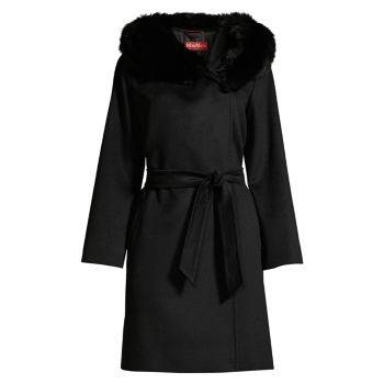 Пальто с капюшоном и отделкой из лисьего меха Weekend Max Mara
