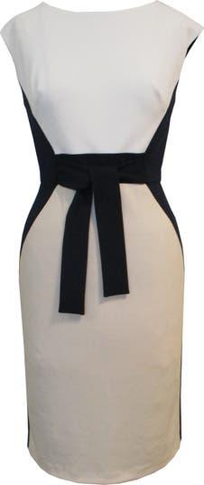 Платье из крепа с короткими рукавами и цветными блоками Sandra Darren