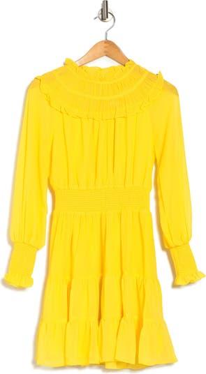 Мини-платье с длинными рукавами и присборенными оборками Harlyn