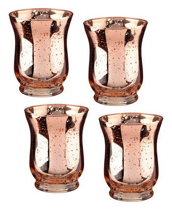 Медные стеклянные держатели для обета или чайных светильников в форме тюльпана и ртути в наборе из 4 штук Lillian Rose