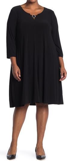 Платье с рукавами 3/4 с жемчужной отделкой Nina Leonard