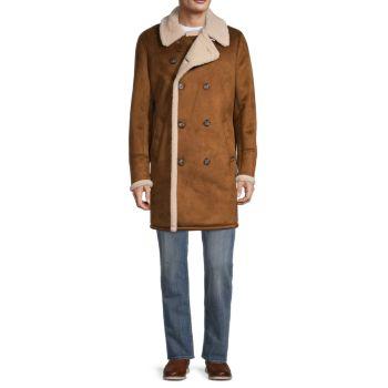 Двубортное длинное пальто из искусственной овчины GUESS