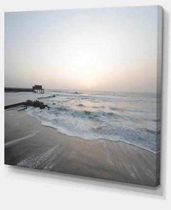 """Designart Безмятежный синий пляж с белым солнцем, современный принт на холсте, пляж - 40 """"X 30"""" Design Art"""