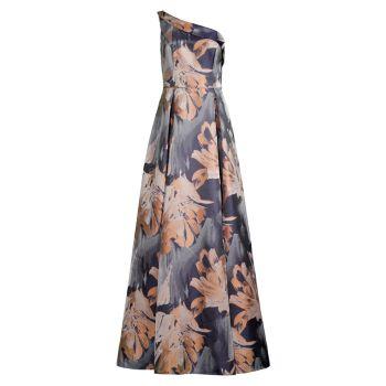 Платье на плечах с цветочным рисунком Aidan Mattox