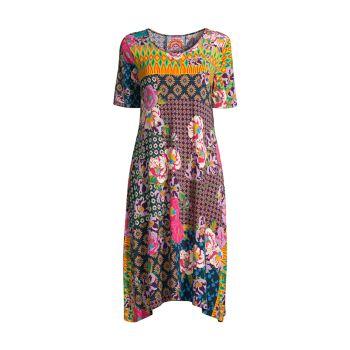Maggie Multi-Pattern Floral Swing Dress Johnny Was