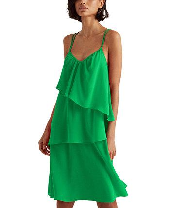 Georgette Sleeveless Dress Ralph Lauren
