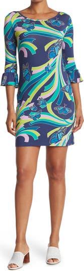 Lana Social Butterfly 3/4 Bell Sleeve Sheath Dress TORI RICHARD