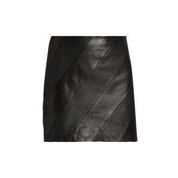 Zetta Diagonal-Seamed Leather Mini Skirt LAMARQUE