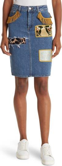 Patched Fringe Trim Denim Skirt Jeremy Scott