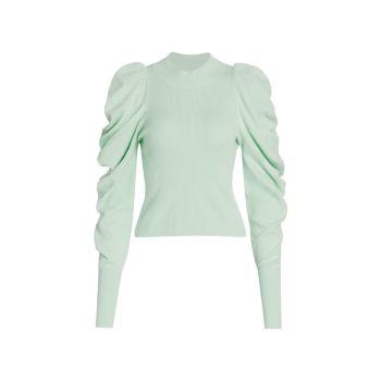 Вязаный свитер с драпированными рукавами Drea Loungewear Jonathan Simkhai