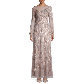 Sequin-Embellished Gown Aidan Mattox
