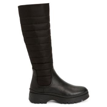 Skyla Quilted Leather & amp; Нейлоновые высокие сапоги Aquatalia