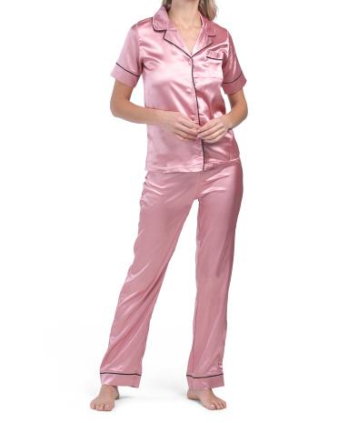 Пижамный комплект с атласным вырезом на кончиках Joan Vass