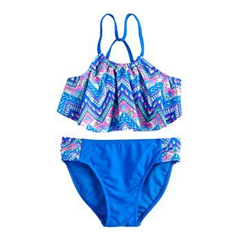 Girls 7-16 SO® Chevron Fog Skinny Strap Tankini 2-Piece Swimsuit Set SO
