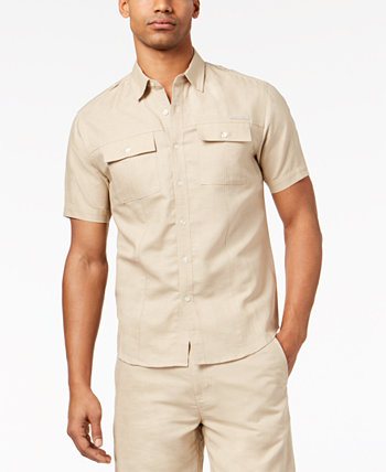 Мужская льняная рубашка с двумя карманами, созданная для Macy's Sean John