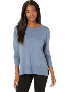 Cotton Cashmere Crew Neck Sweater with Seaming Details Elliott Lauren