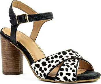Katnis Genuine Calf Hair Block Heel Sandal Crevo