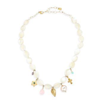 Позолоченное 18K, смешанный жемчуг и amp; Белое ожерелье из драгоценных камней Chan Luu
