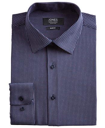 Мужская приталенная классическая рубашка Performance Stretch Cooling Tech Темно-синяя / розовая классическая рубашка с квадратным принтом Jones New York