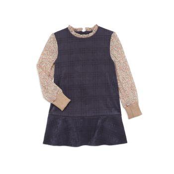 Маленькая девочка & amp; Платье из искусственной замши с принтом для девочек Imoga