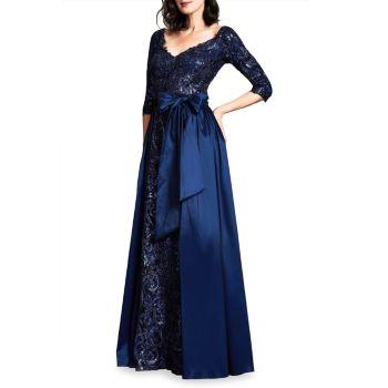 Кружево с блестками & amp; Платье из тафты с двойным V-образным вырезом Tadashi Shoji