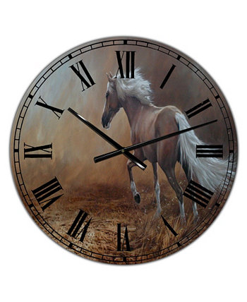 """Настенные часы для большого коттеджа """"Бегущая коричневая лошадь"""" - 36 """"x 28"""" x 1 """" Designart"""