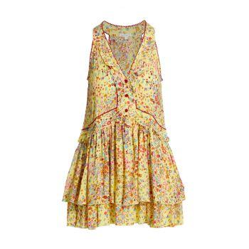 Мини-платье Mae с цветочным принтом Poupette St Barth