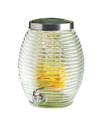 Torino Beverage Dispenser with Ice Insert and Fruit Infuser, 3.5 Gal Circle Glass