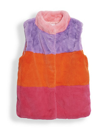 Big Girls Color Blocked Cony Faux Fur Vest Jacket, Created for Macy's Epic Threads