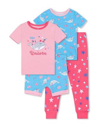 Одежда для сна с китами для маленьких девочек, комплект из 4 предметов Koala baby