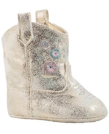Детские ботинки PU Shimmer Western с цветочной вышивкой Baby Deer