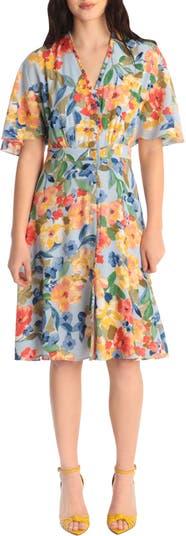 Dolman Sleeve Floral Print Dress Maggy London