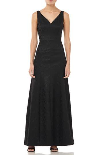 Shimmer Bonded Jacquard Gown Halston Heritage