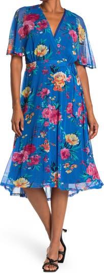 Surplice Belted Floral Print Midi Dress Sandra Darren