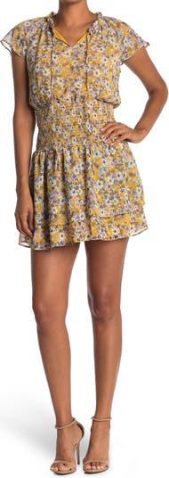 Мини-платье с цветочным принтом и присборенной талией Collective Concepts