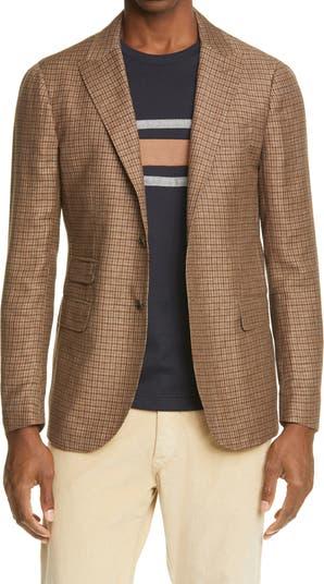 Cross Ply Check Trim Fit Linen Blend Sport Coat Eleventy