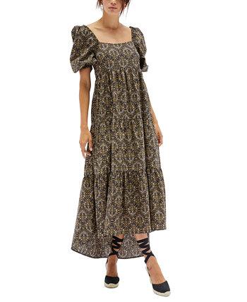 Многоярусное платье миди с принтом Yasamin из хлопка MINKPINK