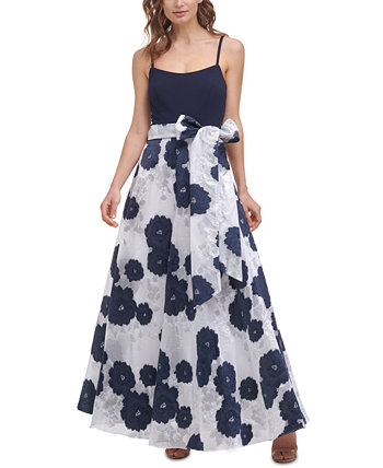 Textured-Floral Skirt Gown Eliza J