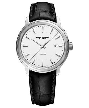 Мужские швейцарские автоматические часы Maestro с черным кожаным ремешком 40мм Raymond Weil