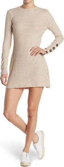 Button Sleeve Ribbed Knit Dress THREADS AND STATES