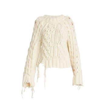 Distressed Cable-Knit Wool Sweater MM6 Maison Margiela