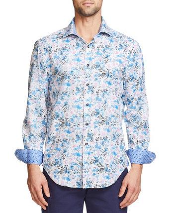 Мужская приталенная рубашка с длинным рукавом из эластичного материала на пуговицах Tallia