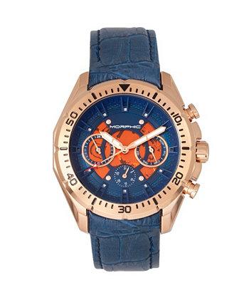 Серия M66, циферблат со скелетом, корпус из розового золота, часы на синем кожаном ремешке с днем недели и датой, 45 мм Morphic