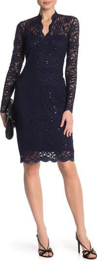 Кружевное платье-футляр с зубчатыми пайетками MARINA