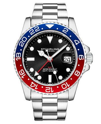 Мужские кварцевые часы Diver с серебряным браслетом, 42 мм Stuhrling