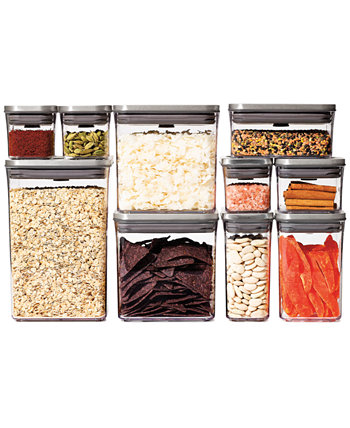 Steel Pop 12 шт. Набор контейнеров для хранения продуктов с совком и этикетками Oxo