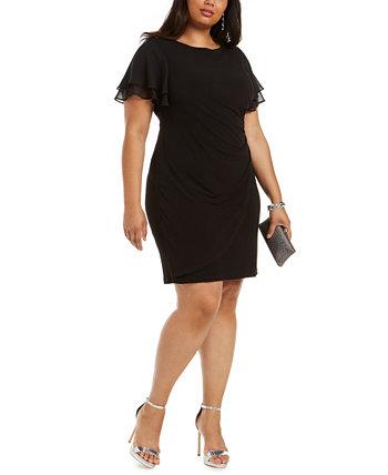 Платье больших размеров с развевающимися рукавами и рюшами по бокам Jessica Howard