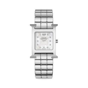 Heure H Diamond & amp; Часы со стальным браслетом HERMÈS